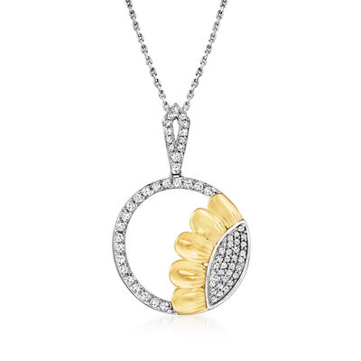 .50 ct. t.w. Diamond Sunflower Pendant Necklace in Two-Tone Sterling Silver