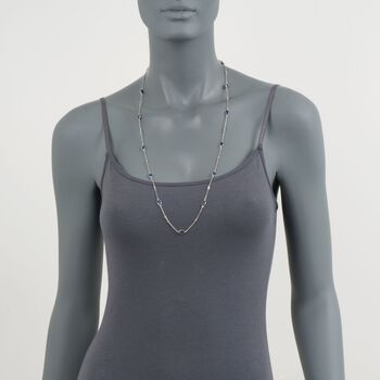 7.20 ct. t.w. Sapphire and .25 ct. t.w. Diamond Station Necklace in Sterling Silver, , default