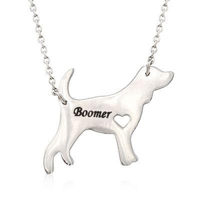 Sterling Silver Beagle Dog Name Necklace, , default