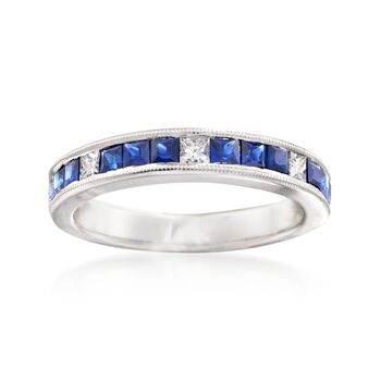 Gregg Ruth .90 ct. t.w. Sapphire and .20 ct. t.w. Diamond Ring in 18kt White Gold   , , default