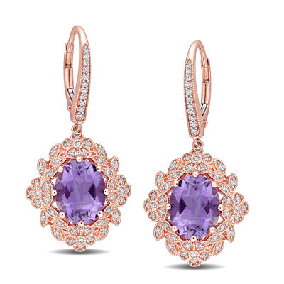 4.40 ct. t.w. Amethyst and .39 ct. t.w. Diamond Floral Drop Earrings in 14kt Rose Gold