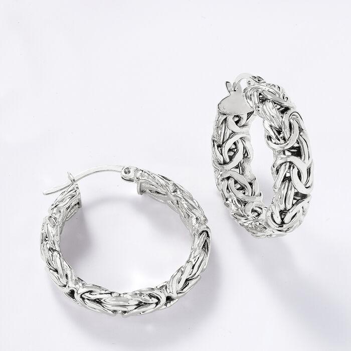 Sterling Silver Small Byzantine Hoop Earrings