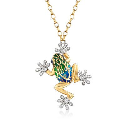 Italian .45 ct. t.w. CZ and .16 ct. t.w. Simulated London Blue Topaz Frog Necklace with Multicolored Enamel in Sterling Silver and 18kt Gold Over Sterling, , default