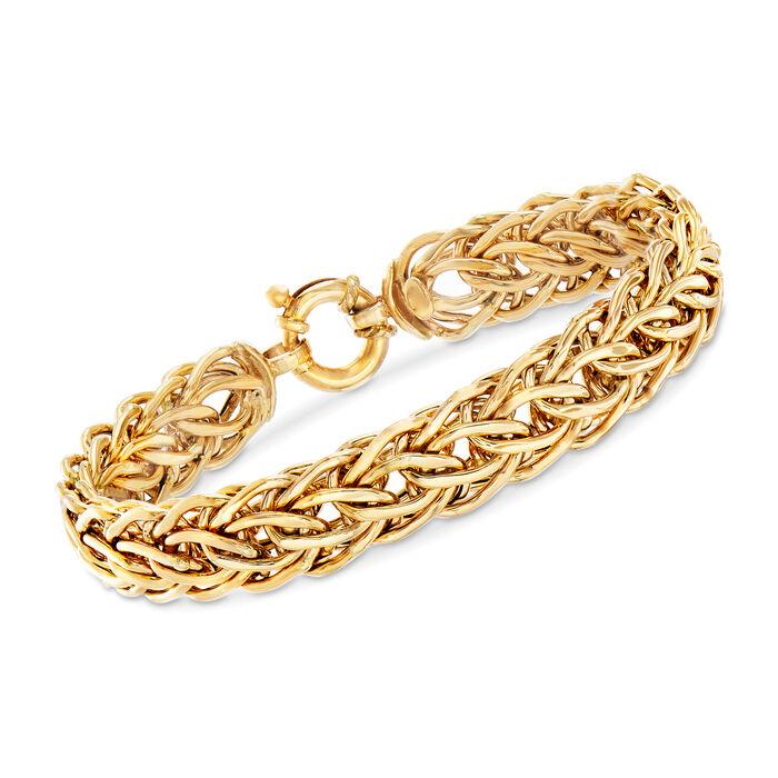 "Italian Cestina-Link Bracelet in 18kt Yellow Gold. 7.25"", , default"