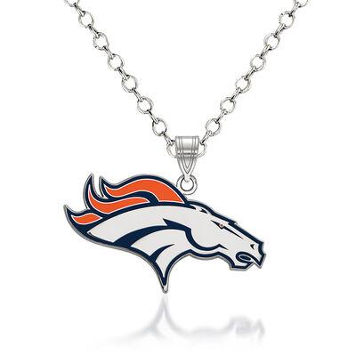 """Sterling Silver NFL Denver Broncos Enamel Pendant Necklace. 18"""", , default"""