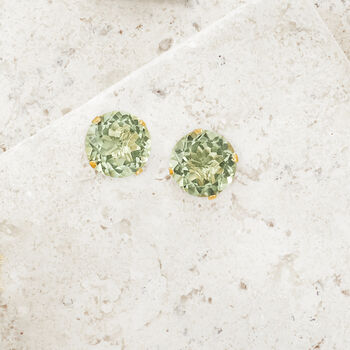 7.70 ct. t.w. Green Prasiolite Stud Earrings in 14kt Yellow Gold