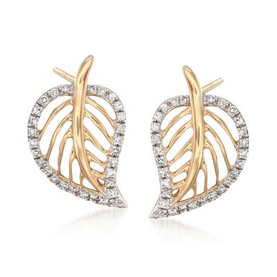 .15 ct. t.w. Diamond Openwork Leaf Earrings in 14kt Yellow Gold, , default