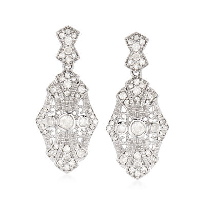 .50 ct. t.w. Diamond Drop Earrings in Sterling Silver, , default
