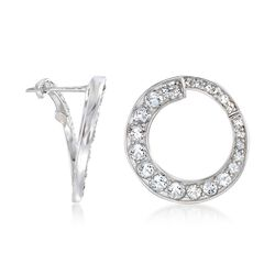 2.79 ct. t.w. White Topaz Front-Facing Hoop Earrings in Sterling Silver , , default