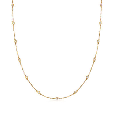 C. 1980 Vintage .51 ct. t.w. Diamond Station Necklace in 14kt Yellow Gold, , default