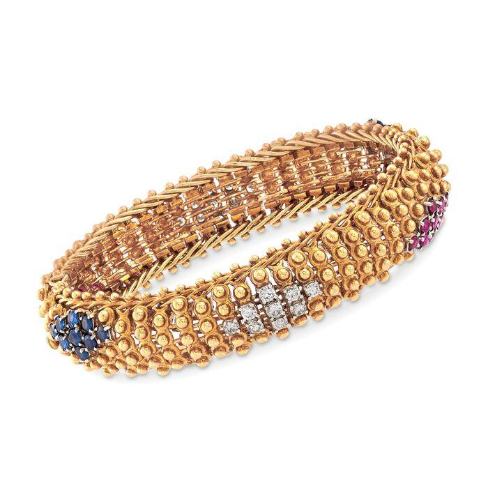 """C. 1960 Vintage Shreve & Co. 18kt Yellow Gold Bracelet with 6.10 ct. t.w. Multi-Stones. 7.25"""", , default"""