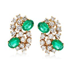 C. 1970 Vintage 2.40 ct. t.w. Emerald and 2.55 ct. t.w. Diamond Earrings in 18kt Yellow Gold, , default