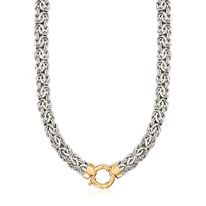 Sterling Silver Byzantine Necklace with 14kt Yellow Gold