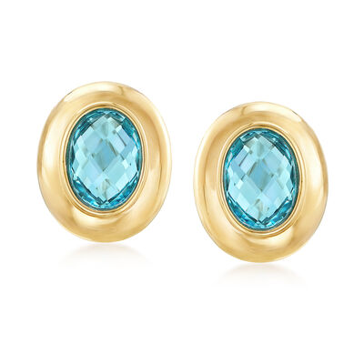 6.75 ct. t.w. Blue Topaz Earrings in 14kt Yellow Gold, , default