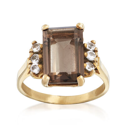 C. 1990 Vintage 3.30 Carat Smoky Quartz and White Topaz Ring in 10kt Yellow Gold, , default