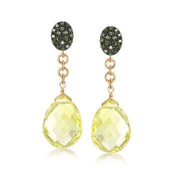 13.00 ct. t.w. Lemon Quartz and .20 ct. t.w. Green Diamond Drop Earrings in 18kt Gold Over Sterling, , default