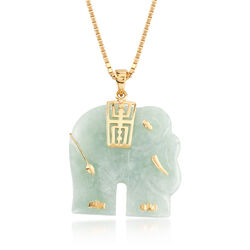 "Carved Green Jade Elephant Pendant Necklace in 18kt Gold Over Sterling. 18"", , default"