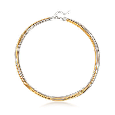 Italian Five-Strand Necklace in Sterling Silver and 18kt Gold Over Sterling, , default