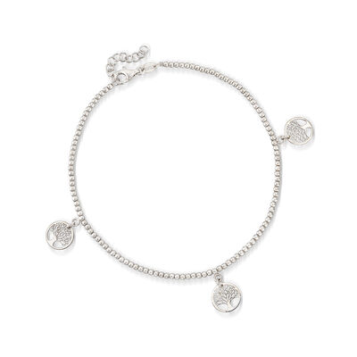 Italian Sterling Silver Tree of Life Anklet , , default