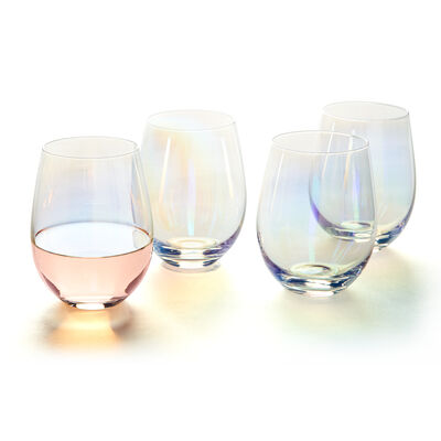 Iridescent Stemless Wine Glass Set, , default