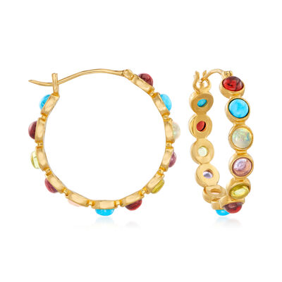 Turquoise, Opal and 4.30 ct. t.w. Multi-Gemstone Hoop Earrings in 18kt Gold Over Sterling