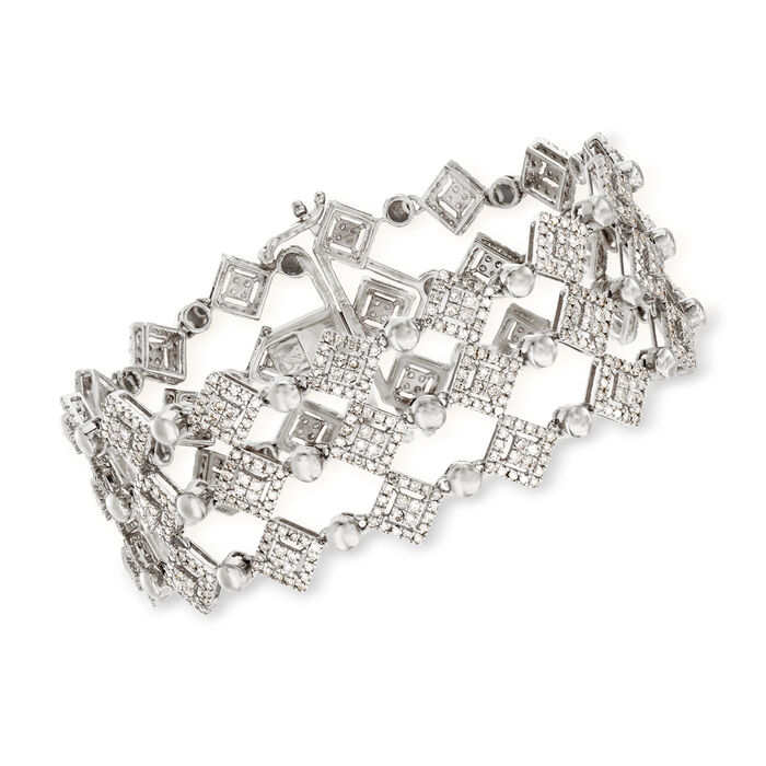 "5.00 ct. t.w. Diamond Three-Row Bracelet in 14kt White Gold. 7"", , default"