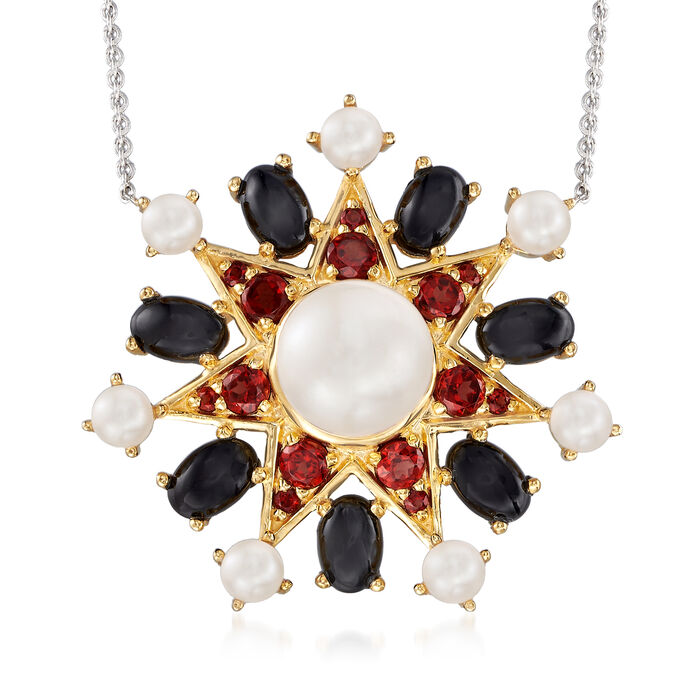 Cultured Pearl and Multi-Gem Sun Pendant Necklace in 18kt Gold Over Sterling