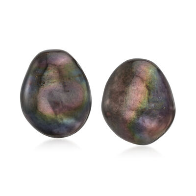 15x12mm Black Cultured Baroque Pearl Earrings with 14kt Yellow Gold