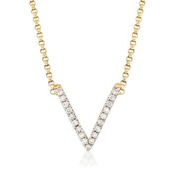 """.11 ct. t.w. Diamond V Necklace in 14kt Yellow Gold. 18"""", , default"""
