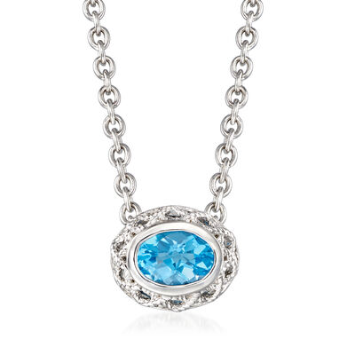 "Andrea Candela ""Rioja"" 2.40 Carat Blue Topaz Necklace in Sterling Silver, , default"