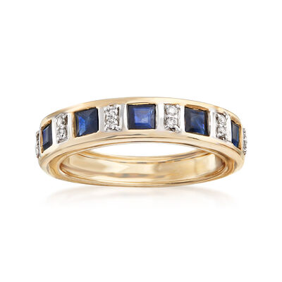 1.10 ct. t.w. Sapphire Ring with Diamond Accents in 14kt Yellow Gold, , default