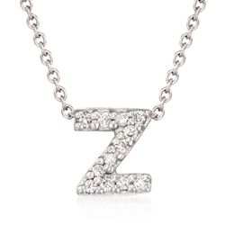 "Roberto Coin ""Tiny Treasures"" Diamond Accent Initial ""Z"" Necklace in 18kt White Gold. 16"", , default"
