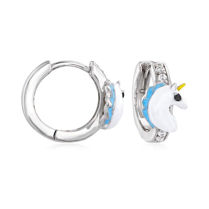 Multicolored Enamel and Multicolored .10 ct. t.w. CZ Unicorn Hoop Earrings in Sterling Silver