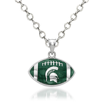 "Sterling Silver Michigan State University Spartan Enamel Football Pendant Necklace. 18"", , default"