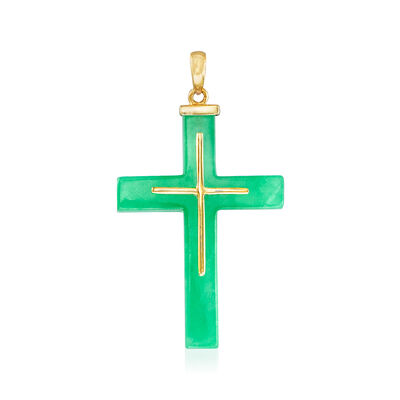 23x33mm Green Jade Cross Pendant in 14kt Yellow Gold, , default