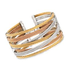 "ALOR ""Classique"" Tri-Colored Stainless Steel Cuff Bracelet With Diamond Accent. 7"", , default"