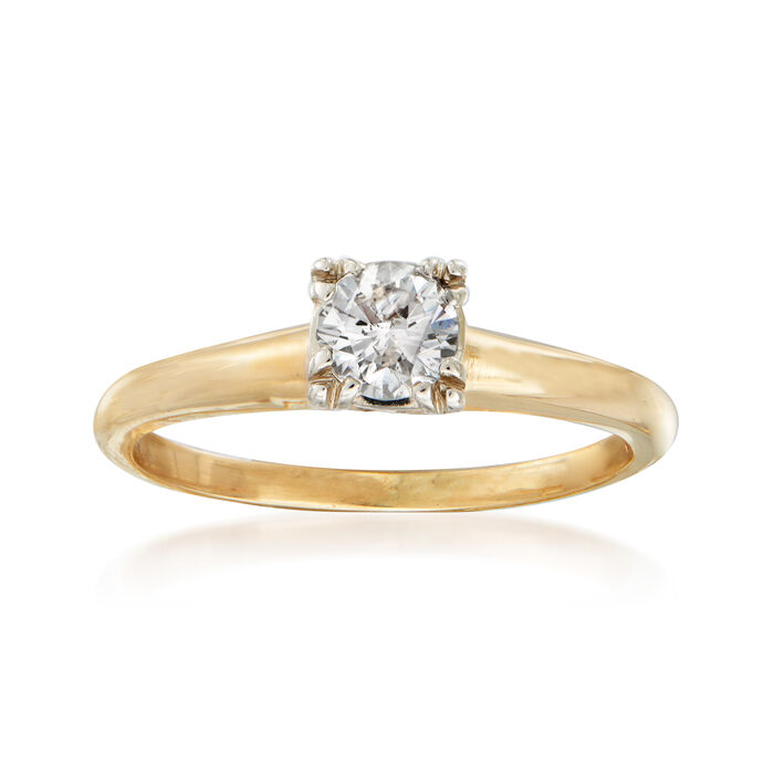 C. 1950 Vintage .35 ct. Diamond Engagement Ring in 14kt Yellow Gold. Size 5.5