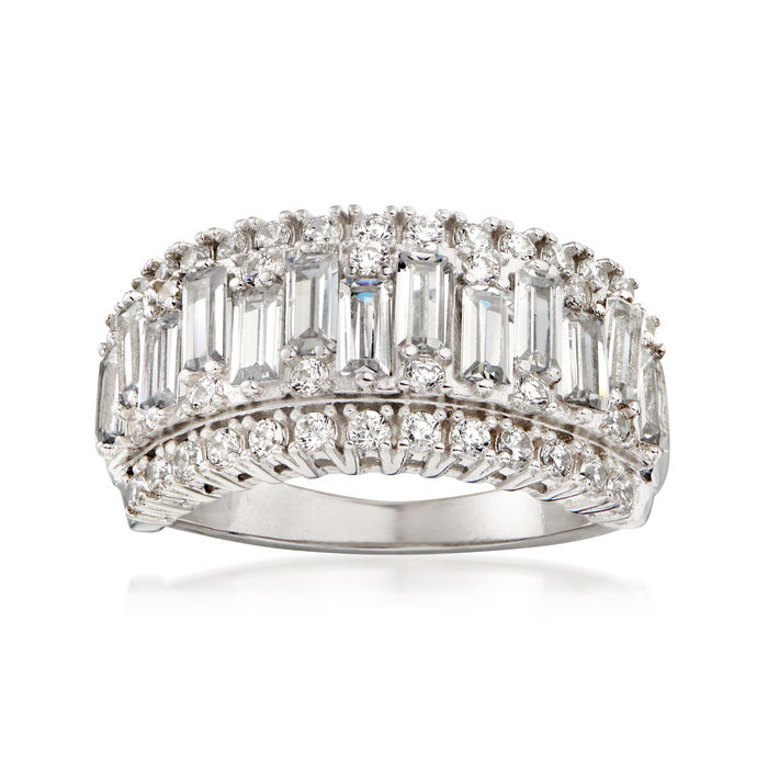2.40 ct. t.w. Baguette and Round CZ Ring in Sterling Silver