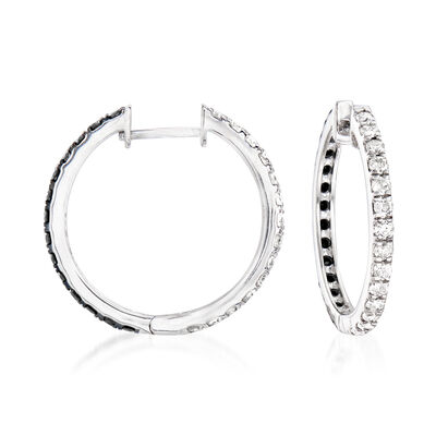 1.00 ct. t.w. Black and White Diamond Hoop Earrings in Sterling Silver, , default