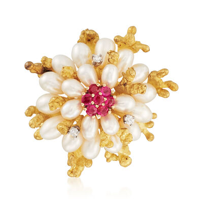 C. 1980 Vintage Cultured Pearl and .65 ct. t.w. Ruby and Diamond Pin in 18kt Yellow Gold, , default