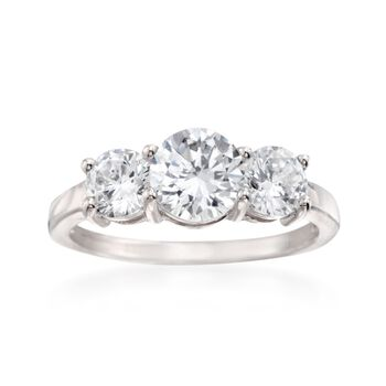 2.00 ct. t.w. CZ Three-Stone Ring in Sterling Silver, , default