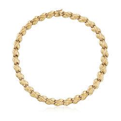 "C. 1990 Vintage 14kt Yellow Gold Link Necklace. 16.5"", , default"