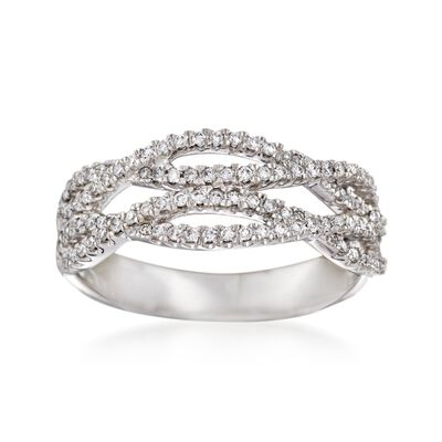 .36 ct. t.w. Diamond Crisscross Ring in 14kt White Gold