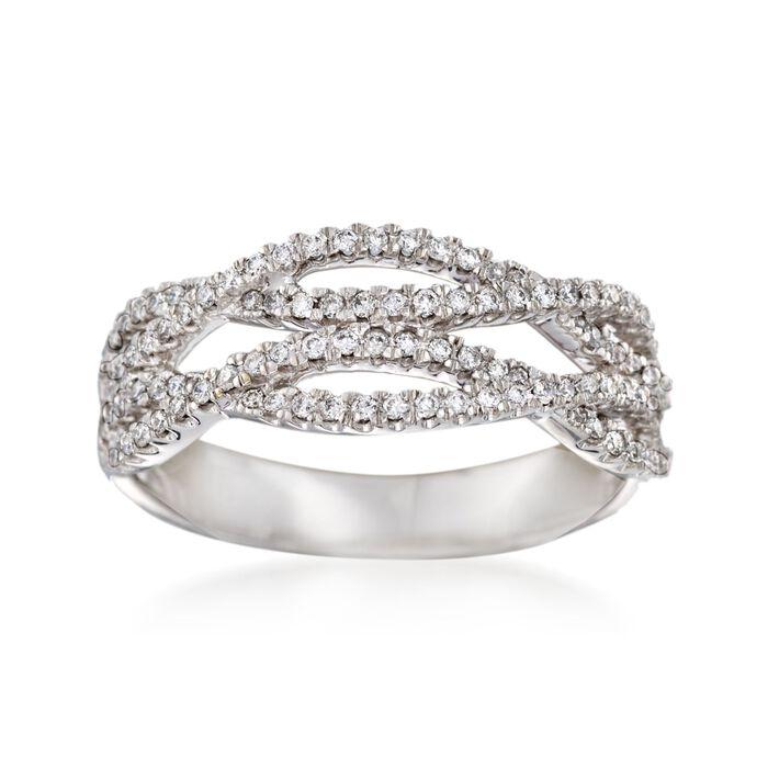 .36 ct. t.w. Diamond Crisscross Ring in 14kt White Gold