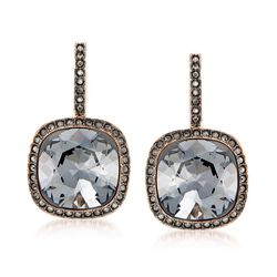 "Swarovski Crystal ""Latitude"" Black Crystal Frame Drop Earrings in Rose Gold Plate , , default"