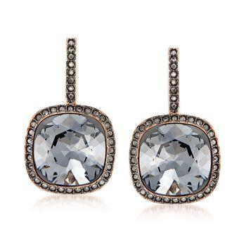 "Swarovski Crystal ""Latitude"" Black Crystal Frame Drop Earrings in Rose Gold Plate , , default"
