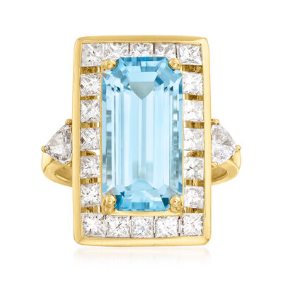C. 1980 Vintage 7.15 Carat Swiss Blue Topaz and 2.50 ct. t.w. Diamond Ring in 18kt Yellow Gold