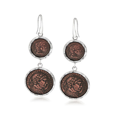 Italian Sterling Silver Double Replica Emperor Coin Drop Earrings, , default