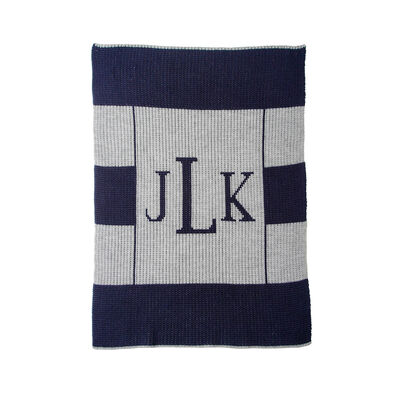 Butterscotch Blankees Personalized Multi-Stripe Monogram Blanket, , default