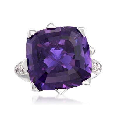 C. 1980 Vintage 14.00 Carat Amethyst and .50 ct. t.w. Diamond Ring in 18kt White Gold